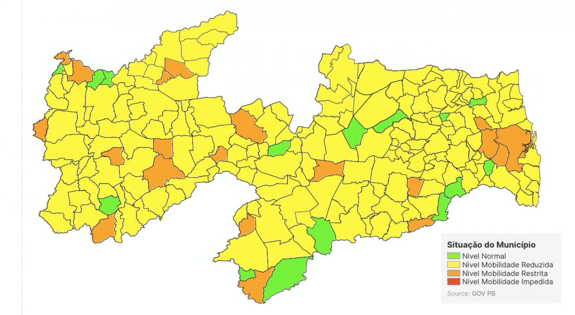 Mapa de avaliação revela municípios estáveis