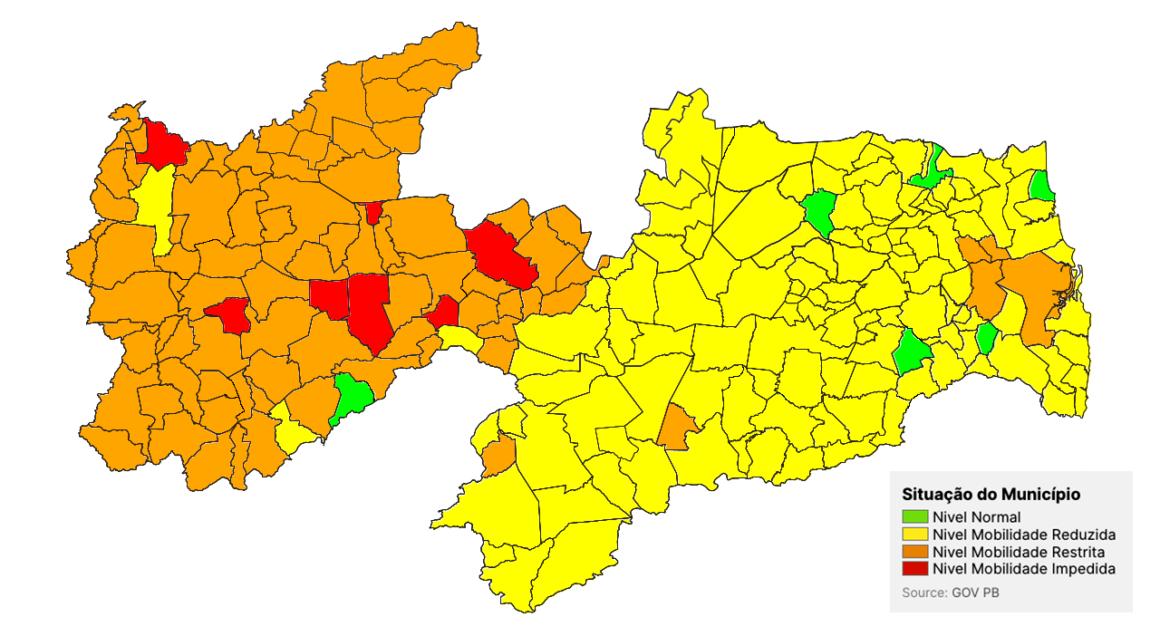 Cresce número de cidades com a bandeira laranja