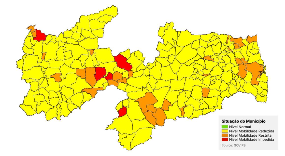 Paraíba volta à bandeira amarela no mapa da Covid